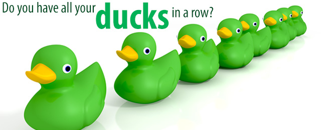 green rubber ducks with words Do you have all your ducks in a row